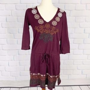 Johnny Was Purple Embroidered Boho Tunic Top S
